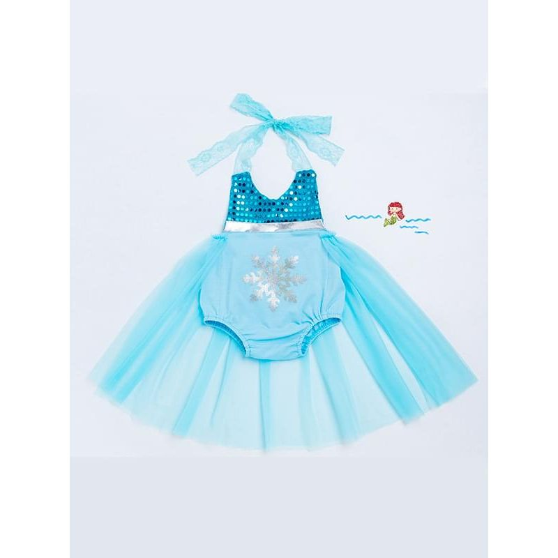 Kiskissing Strapped Blue Romper Dress Sleeveless Snowflake Sequins for Babies Girls the obverse side  children's boutique clothing wholesale