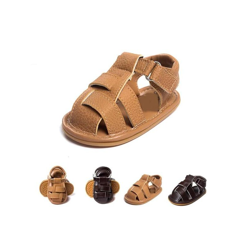 Kiskissing Solid Color Antiskid Pre-walking Crib Shoes Sandals for Babies wholesale baby accessories brown & khaki colors available