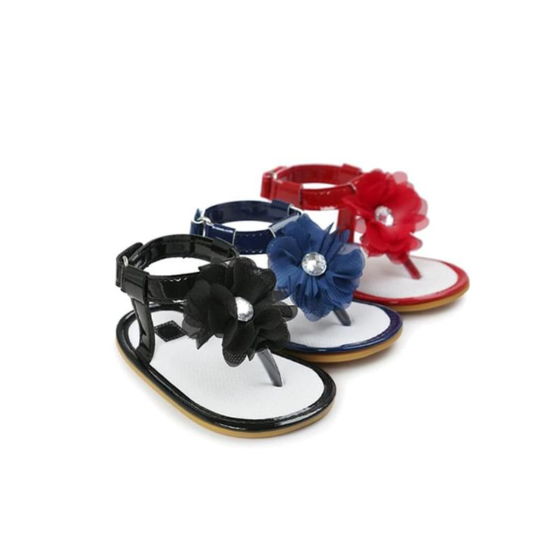 Kiskissing Flower Soft-soled Sandals Antiskid Pre-walking Crib Shoes Velcro for Babies wholesale baby accessories black blue & red colors