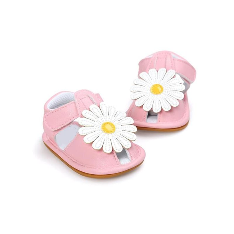 Kiskissing pink Big Flower Pattern Soft-soled Sandals Antiskid Pre-walking Crib Shoes Velcro for Babies wholesale baby accessories
