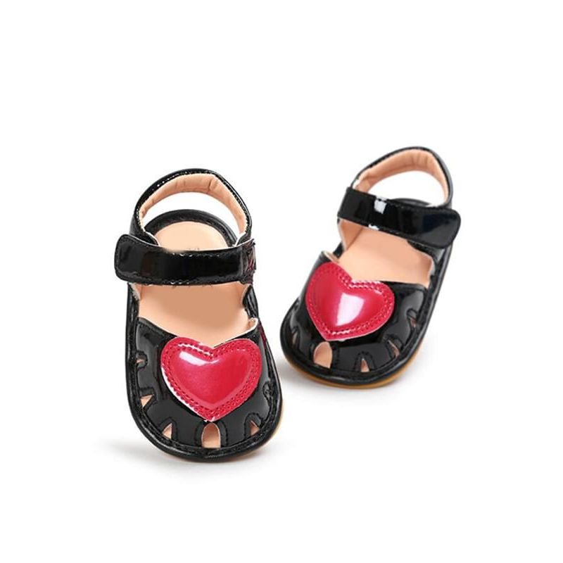 Kiskissing black Cute Heart Pattern Soft-soled Sandals Antiskid Pre-walking Crib Shoes Velcro for Babies wholesale baby accessories