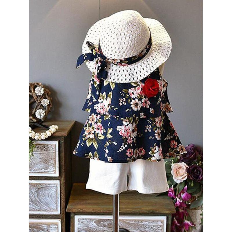 Kiskissing deep blue 3-piece Floral Sun-top Shorts Hat Set Vest for Toddlers Girls trendy toddler clothes wholesale
