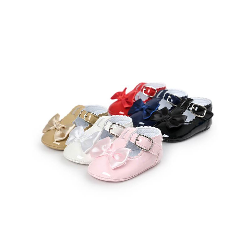 Kiskissing Cute Princess Bow Glossy Surface Antiskid Pre-walking Crib Shoes for Babies wholesale baby accessories multicolors available