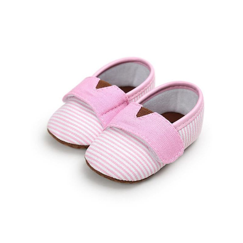 Kiskissing pink Stripes Velcro Canvas Crib Shoes Antiskid Breathable Pre-walking  for Babies wholesale baby accessories