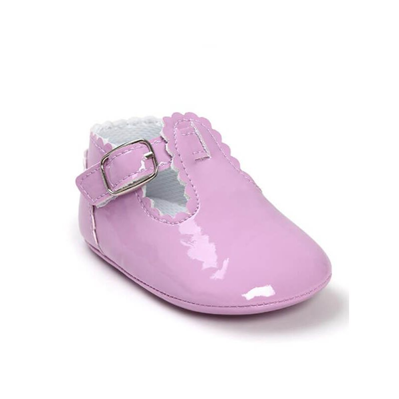 Kiskissing purple Cute Solid Color Glossy Surface Antiskid Pre-walking Crib Shoes for Babies wholesale baby accessories