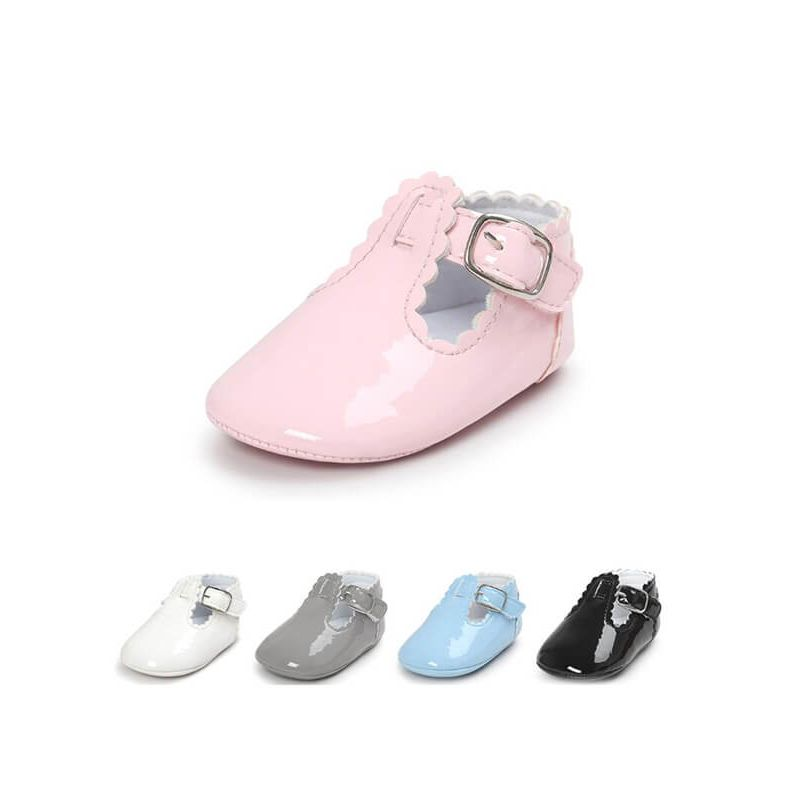 Kiskissing Cute Solid Color Glossy Surface Antiskid Pre-walker Crib Shoes Velcro for Babies wholesale baby accessories multicolors available