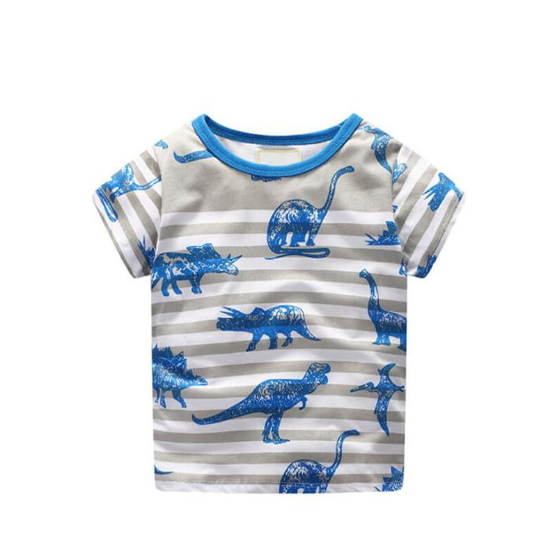 Kiskissing Dinosaurs Stripes Print Tee T-shirt Cotton Top Short-Sleeve Round-neck for Babies Toddlers Boys the obverse side wholesale boys clothing