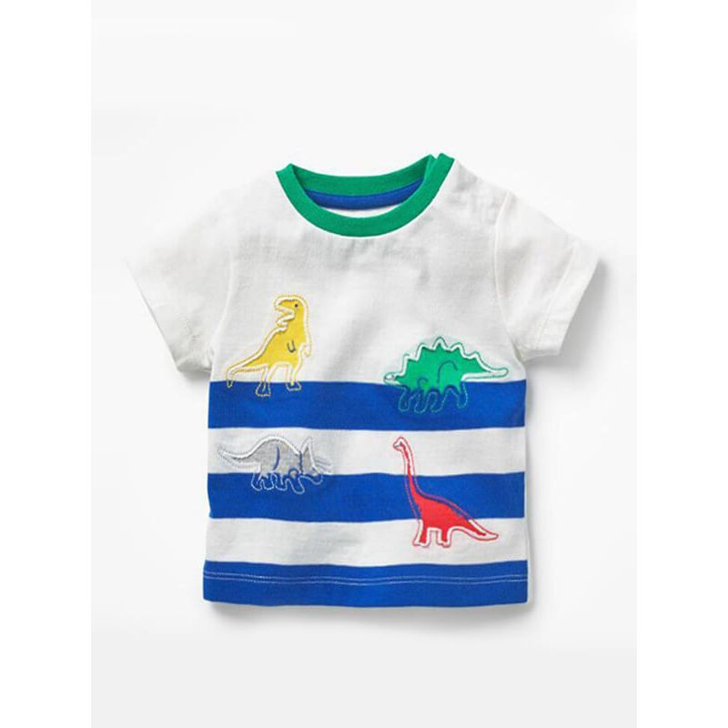 Kiskissing Dino Pattern Stripes Tee T-shirt Cotton Top Short-Sleeve Round-neck for Babies Toddlers Boys the obverse side children's boutique clothing wholesale
