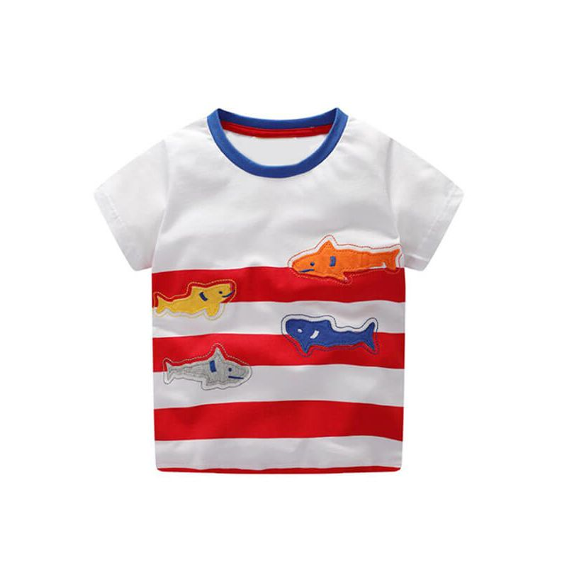 Kiskissing Fish Pattern Stripes Tee T-shirt Cotton Top Short-Sleeve Round-neck for Babies Toddlers Boys the obverse side trendy kids wholesale clothing