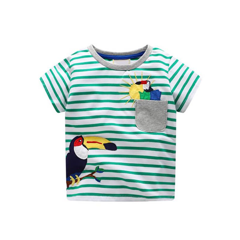153e553b5 Kiskissing Cartoon Toucan Stripes Print Tee T-shirt Cotton Top Short-Sleeve  Round-
