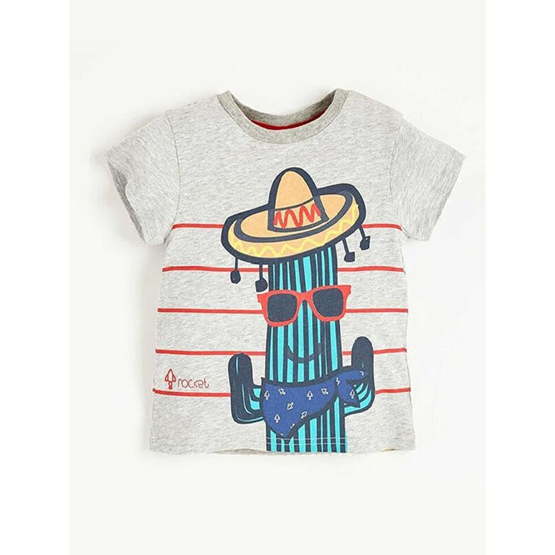 Kiskissing Cool Cartoon Cacti Cowboy Pattern Tee T-shirt Cotton Top Short-Sleeve Round-neck for Babies Toddlers Boys kids wholesale clothing