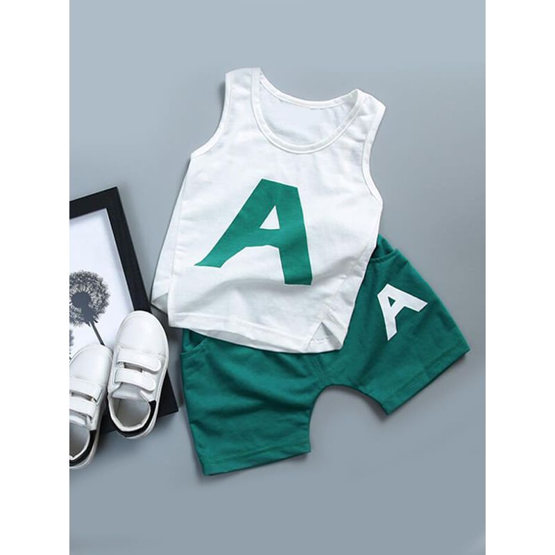 Kiskissing green 2-piece Thin Vest Shorts Set for Baby Toddler Boys wholesale childrens clothing set