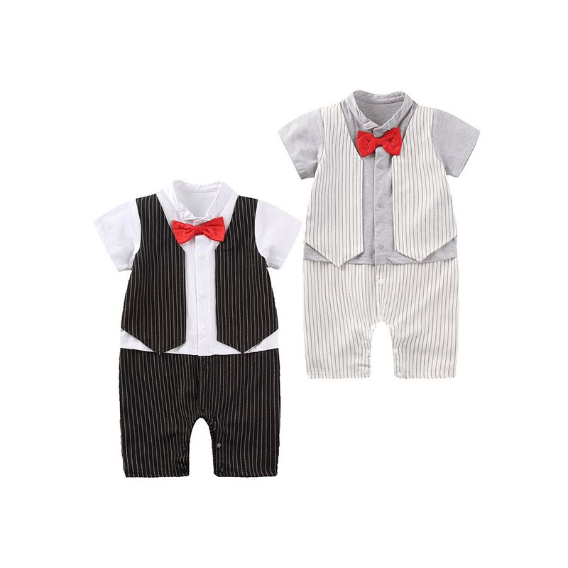 Kiskissing One-piece Pullover Formal Style Bow-knot Jumpsuit Romper for Baby Boys black & white colors available