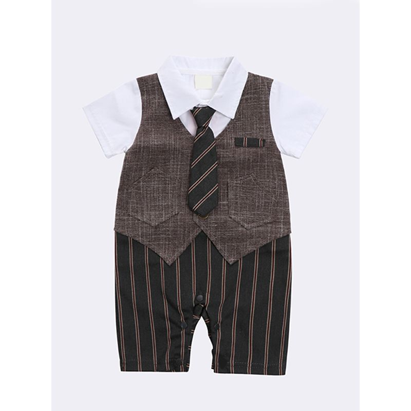 Kiskissing brown Necktie Cotton Romper Jumpsuit Overalls Suit Short Sleeves For Baby Boys kids wholesale clothing