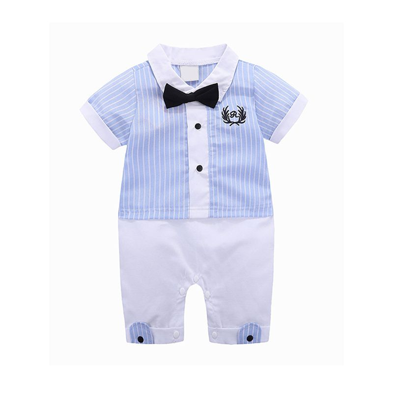 Kiskissing Newborn Boys Suit Embroidered Bowknot Cotton Romper Jumpsuit For Baby Boys wholesale baby clothes