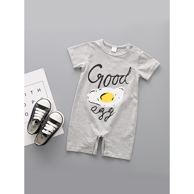 Kiskissing grey Fried Egg Printed Overalls Short Sleeves Romper Jumpsuit For Newborn Baby Boys Girls wholesale kids boutique clothing