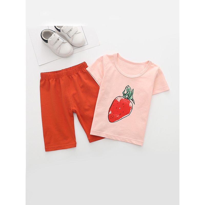 Kiskissing 2-piece Fruits Graphic Printed Tee Set Short-sleeve Cotton T-Shirt Top Shorts Set For Little Boys wholesale kids boutique clothing set