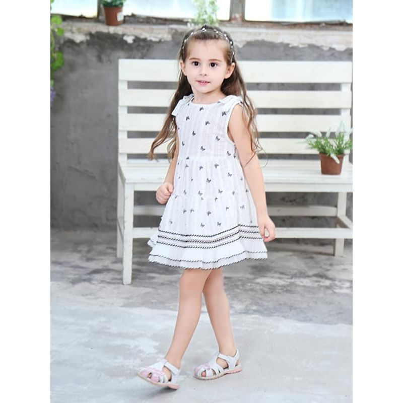 Kiskissing Cute Cartoon Butterfly Print Princess Dress Cotton Short-sleeve for Toddlers Girls the model show wholesale princess dresses