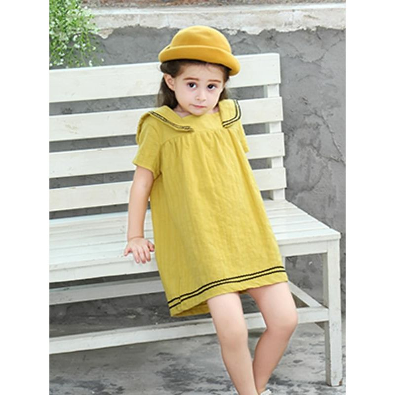 43d8c131fbca Kiskissing School Style Cotton Dress Short-sleeve Solid Color for Toddlers  Girls the model show