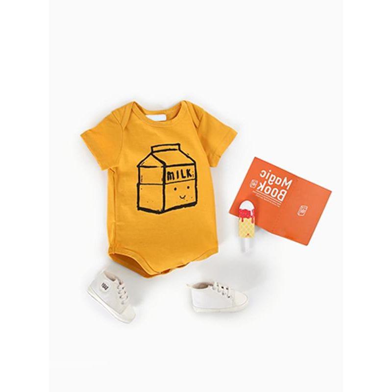 f02987cbc Kiskissing Cartoon Milk Print Romper Yellow Bodysuit for Babies wholesale baby  onesies