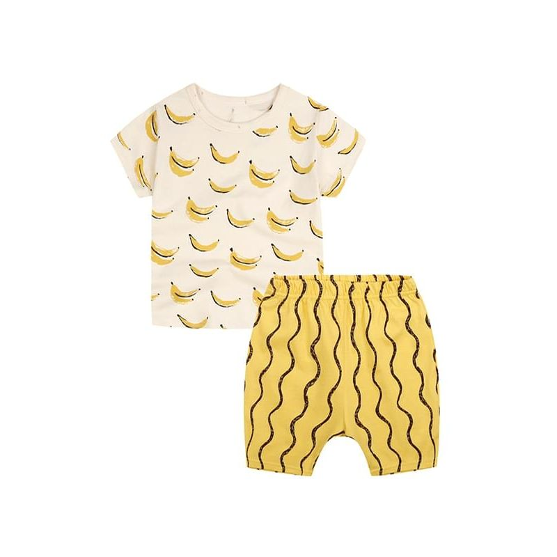 Kiskissing 2-piece Banana Print Set Cotton Top Shorts for Babies Toddlers Boys wholesale toddler boutique clothing