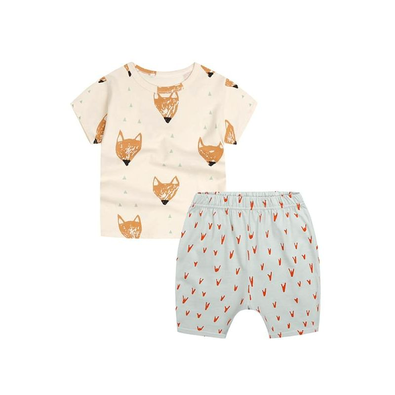 Kiskissing 2-piece Fox Print Set Cotton Top Shorts for Babies Toddlers Boys kids wholesale clothing