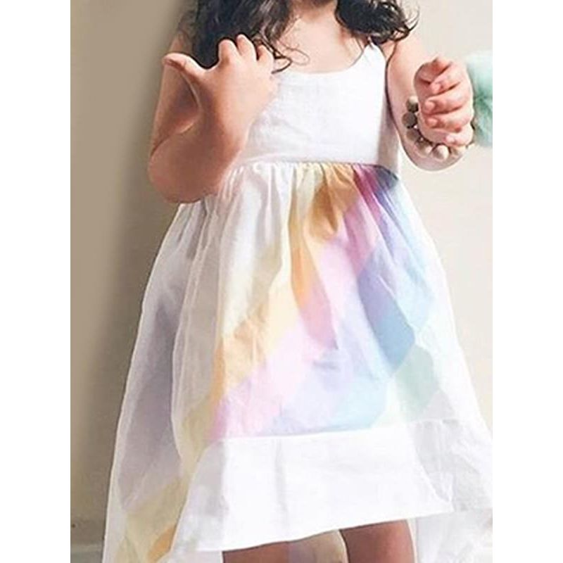 Kiskissing Rainbow Colorful Strapped Slip Dress Cotton for Toddlers Girls the model show wholesale children's boutique clothing suppliers