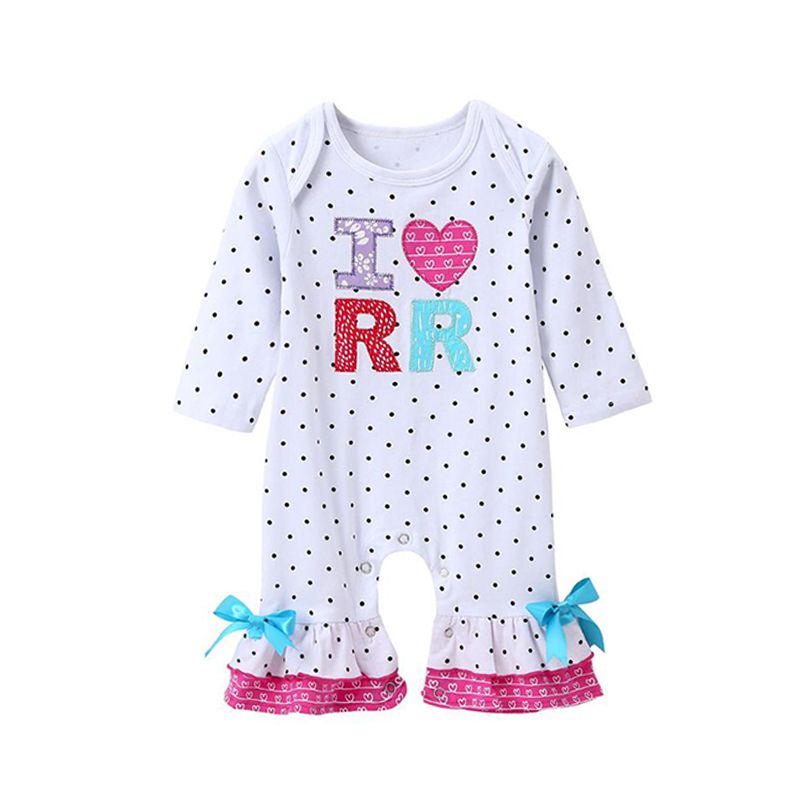 Kiskissing Dots Letters Heart Print Romper Bow Cotton Jumpsuit Long-sleeve for Baby Girls the obverse side wholesale baby onesies