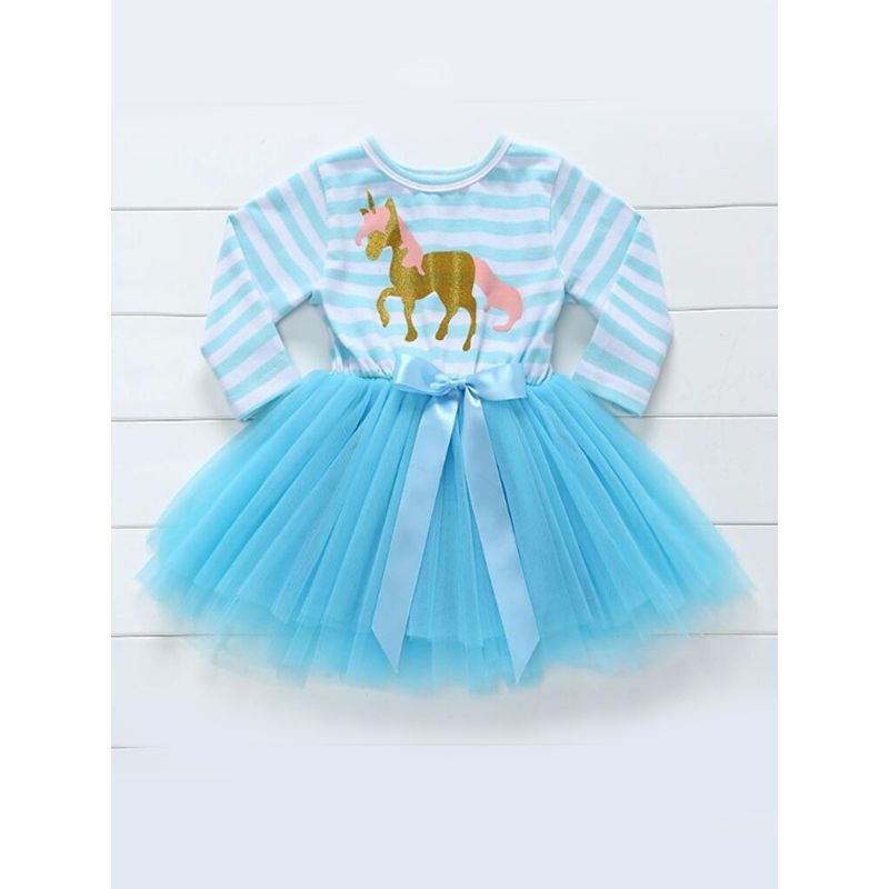 Kiskissing blue Paneled Striped Tutu Princess Dress Tulle for Baby Toddler Girls wholesale princess dresses wholesale princess dresses