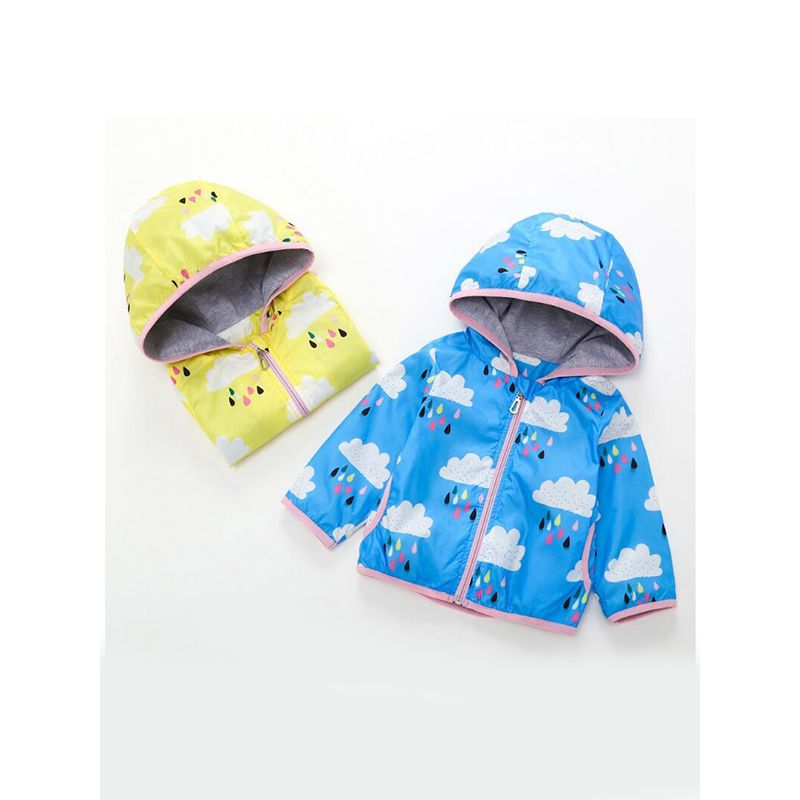 Kiskissing Hooded Cloud Rain Print Thin Coat Top Zip-up for Baby Toddler Girls Boys wholesale children's boutique clothing suppliers yellow & blue colors available