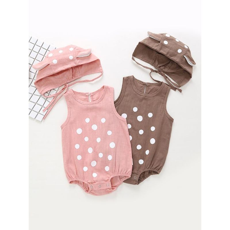 Kiskissing 2-piece Romper Hat Set Dot Print Solid Color Bodysuit Cotton for Baby Boys Girls wholesale baby onesies brown & pink colors available