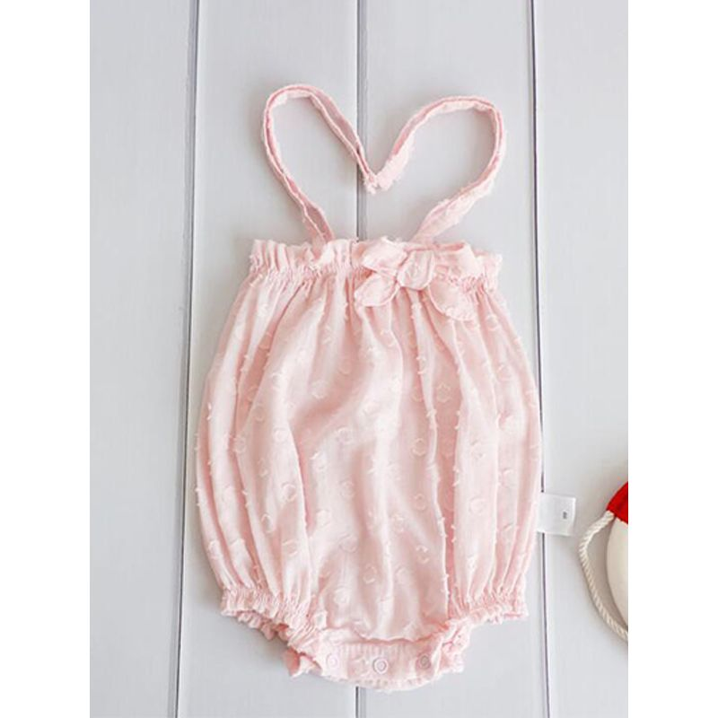 Solid Color Straps Cotton Romper Sleeveless Bodysuit for Baby Girls