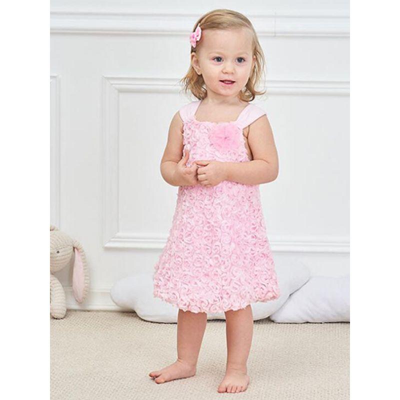 Pink Chiffon Rose Romper Dress Sleeveless Cotton Lining for Baby Girls