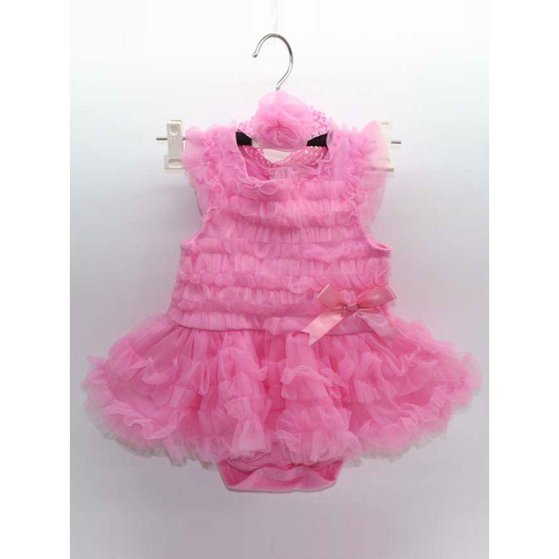 Kiskissing pink 2-piece Tutu Romper Princess Dress Headband Set Sleeveless Tulle Cotton Lining for Baby Girls wholesale princess dresses