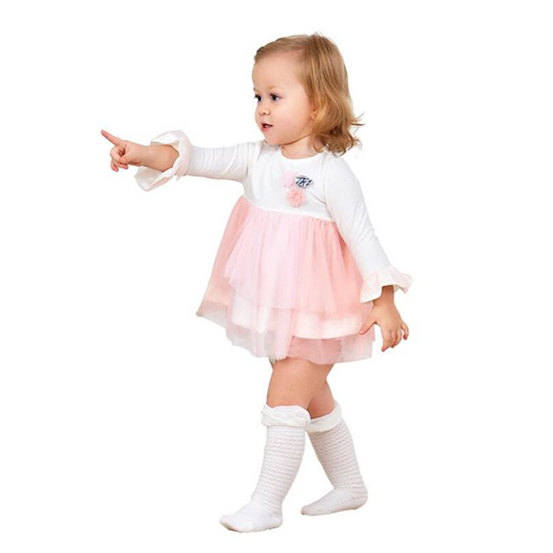Kiskissing 3-flower Tulle Pink Paneled Tutu Princess Dress Long-sleeve Cotton for Baby Girls the model show wholesale little girl clothing