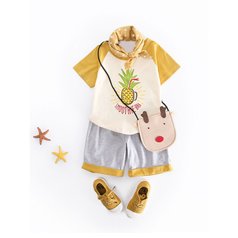 Kiskissing 2-piece Pineapple Printed T-shirt Shorts Set Cotton Short Sleeves Color Matching Shorts For Toddlers  Boys wholesale children's boutique clothing