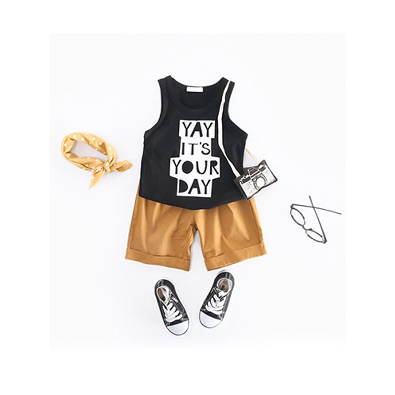 Kiskissing 2 piece Hot Sale Printed Cotton Vest Leisure Shorts Set For Toddlers Kids Boys wholesale boys clothing
