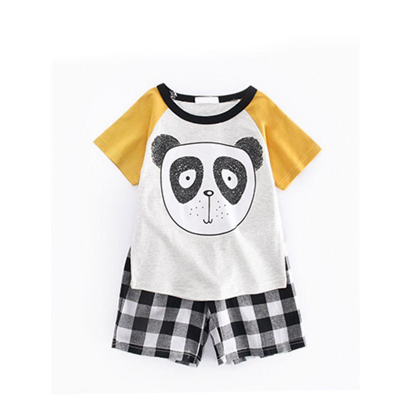 Kiskissing 2-piece Cute Panda Print Tee Shorts Set Short-Sleeve T-shirt Plaid Bottom for Toddlers Boys kids wholesale clothing