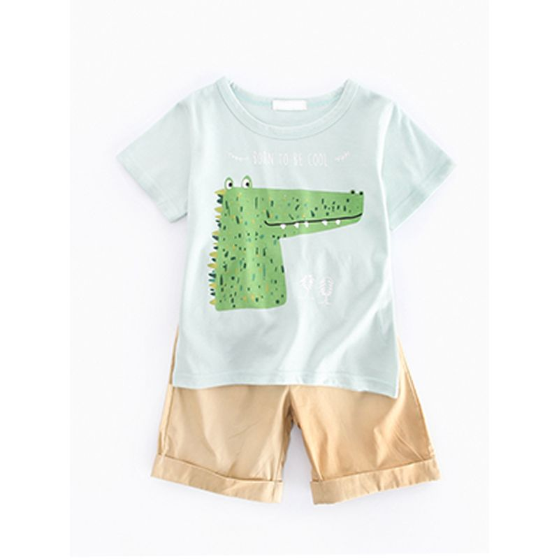 Kiskissing 2-piece Crocodile Print Tee Shorts Set Short-sleeve T-shirt Top Bottom for Toddlers Boys wholesale children's boutique clothing