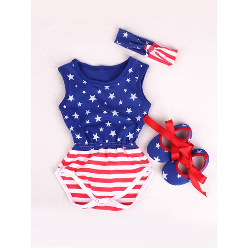 cc6ec77040df 4th of July US Independence Day 3-piece Romper Set Stripes Stars Bodysuit  Headband Shoes