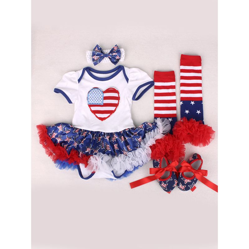 US Independence Day 4-piece Romper-dress Set Stripes Stars Bodysuit Headband Leggings Shoes for Baby Girls