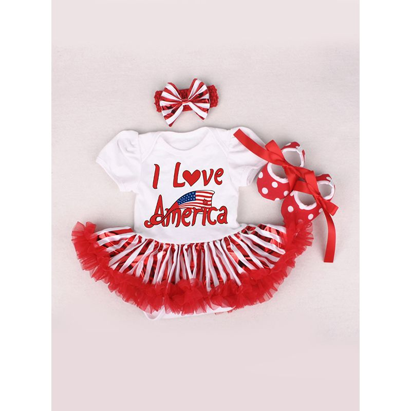 US Independence Day 3-piece Romper-dress Set Headband Bodysuit Shoes for Baby Girls