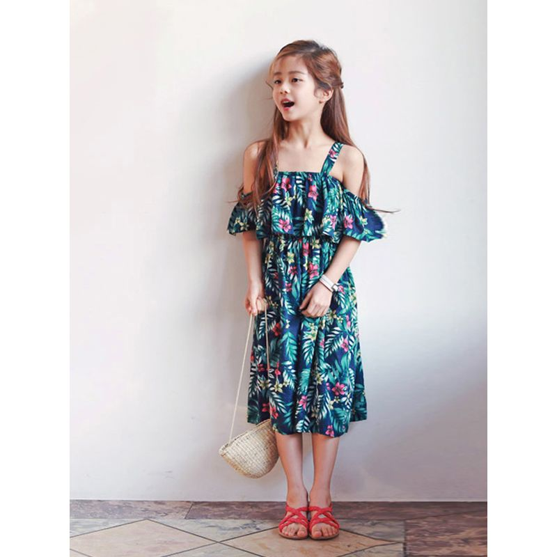 Kiskissing Family Matching Mom Girls Cotton Dress Straps Floral Beach Summer the model show wholesale mommy and me clothing