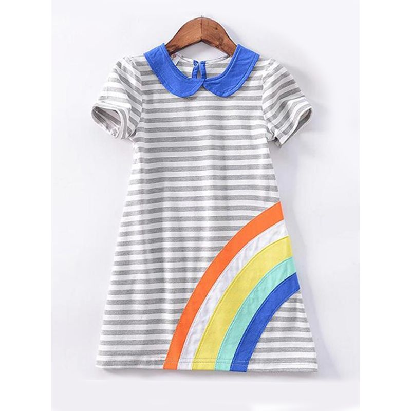 Kiskissing Stripes Sunflower Rainbow Embroidery Dress Short-sleeve for Toddlers Girls wholesale toddler clothing