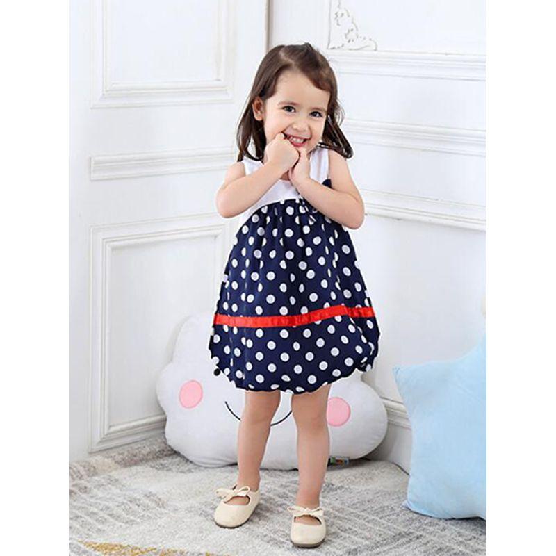 Kiskissing Bow Dots Lantern-Hem Chiffon Cotton Dress Sleeveless for Baby Toddler Girls the model show toddler girl wholesale clothing