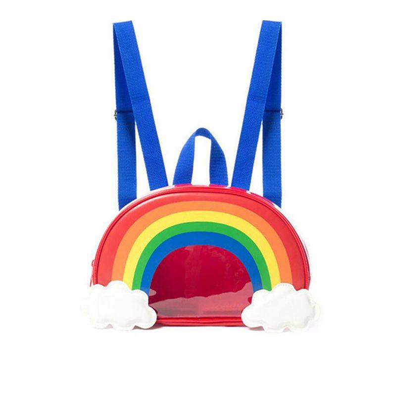 Cute Rainbow Backpack Schoolbag Adjustable Straps Zip-up for Boys Girls
