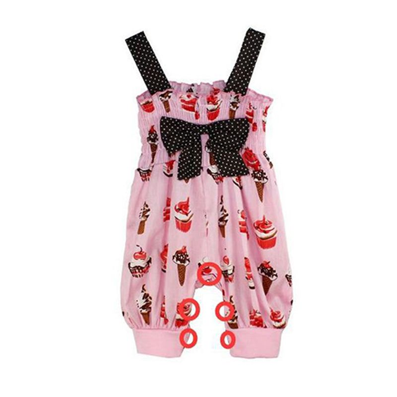 eada5b0d4e96a Kiskissing Strapped Cotton Romper Jumpsuit Cake Ice Cream Print for Baby  Girls wholesale girls clothing
