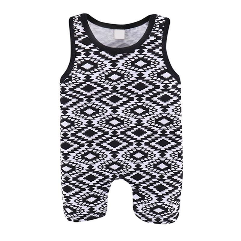 Kiskissing Abstract Graphic Pattern Sleeveless Cotton Vest Romper Jumpsuit For Baby Boys Girls children's boutique clothing wholesaleb