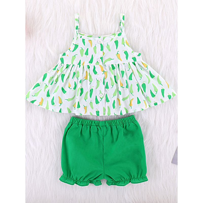 Kiskissing 2-piece Floral Dress Green Shorts Set Straped Pepper Graphic Dress Hipster Shorts For Baby Girls wholesale childrens clothing