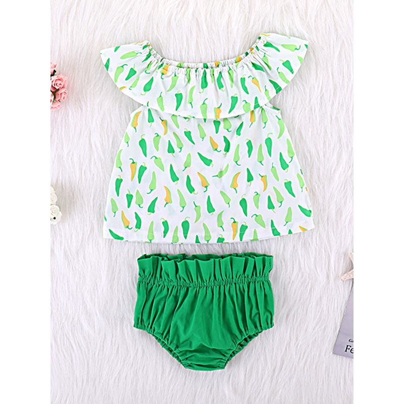 Kiskissing 2-piece Sleeveless Pepper Graphics Dress Green Panties Set For Babies Girls the obverse side children's boutique clothing wholesale